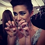 Emmy Rossum's lace nails were leftover fabric from her Donna Karan Atelier dress! Source: Instagram user mtvstyle