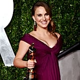 Natalie Portman proudly posed with her best actress Oscar for her work in Black Swan in 2011.