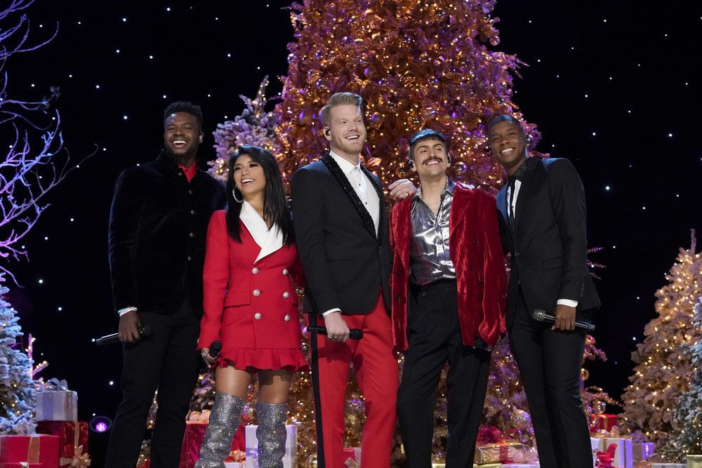 A VERY PENTATONIX CHRISTMAS SPECIAL -- Pictured:(l-r) Kevin Olusola, Kirstin Maldonado, Scott Hoying, Mitch Grassi, Matt Sallee -- (Photo by: Chris Haston/NBC)