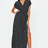 Missguided Black Polka Dot Short Sleeve Midi Dress