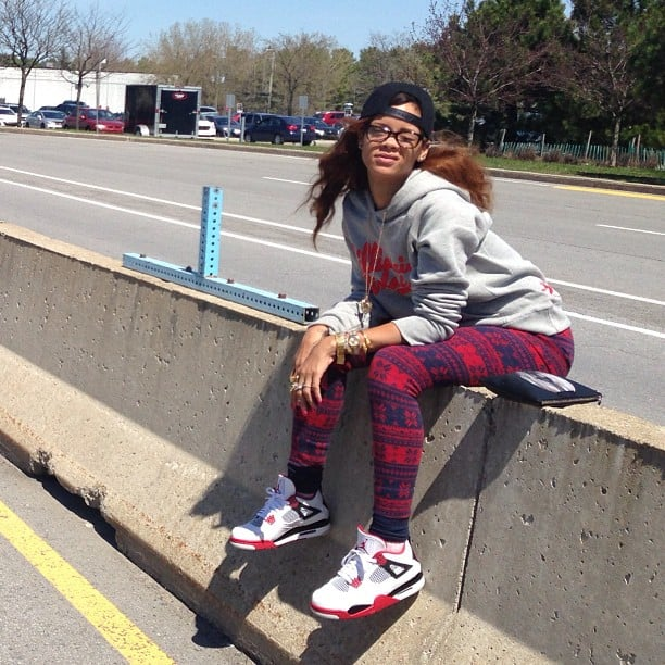 Rihanna stopped to take a photo while entering Montreal, Canada. Source: Instagram user badgalriri