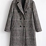 Shein Wool Blend Glen Plaid Coat