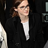 She wore a heavy framed pair of glasses.
