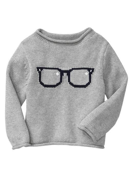 Your little bookworm can strut his stuff in BabyGap's glasses sweater ($24, originally $35) — geek chic!
