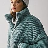 UO Fluffy Corduroy Puffer Coat