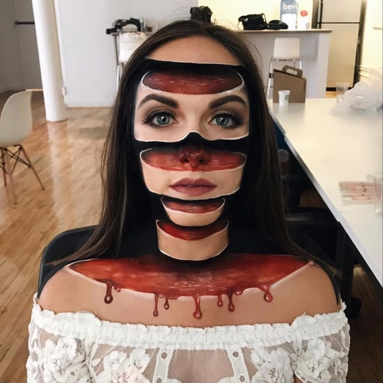Sliced Face Halloween Makeup
