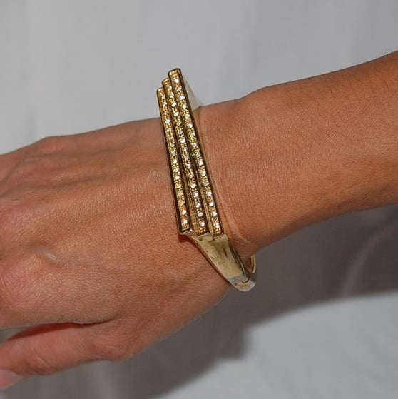 French Art Deco Rhinestone Gold Bangle ($25)