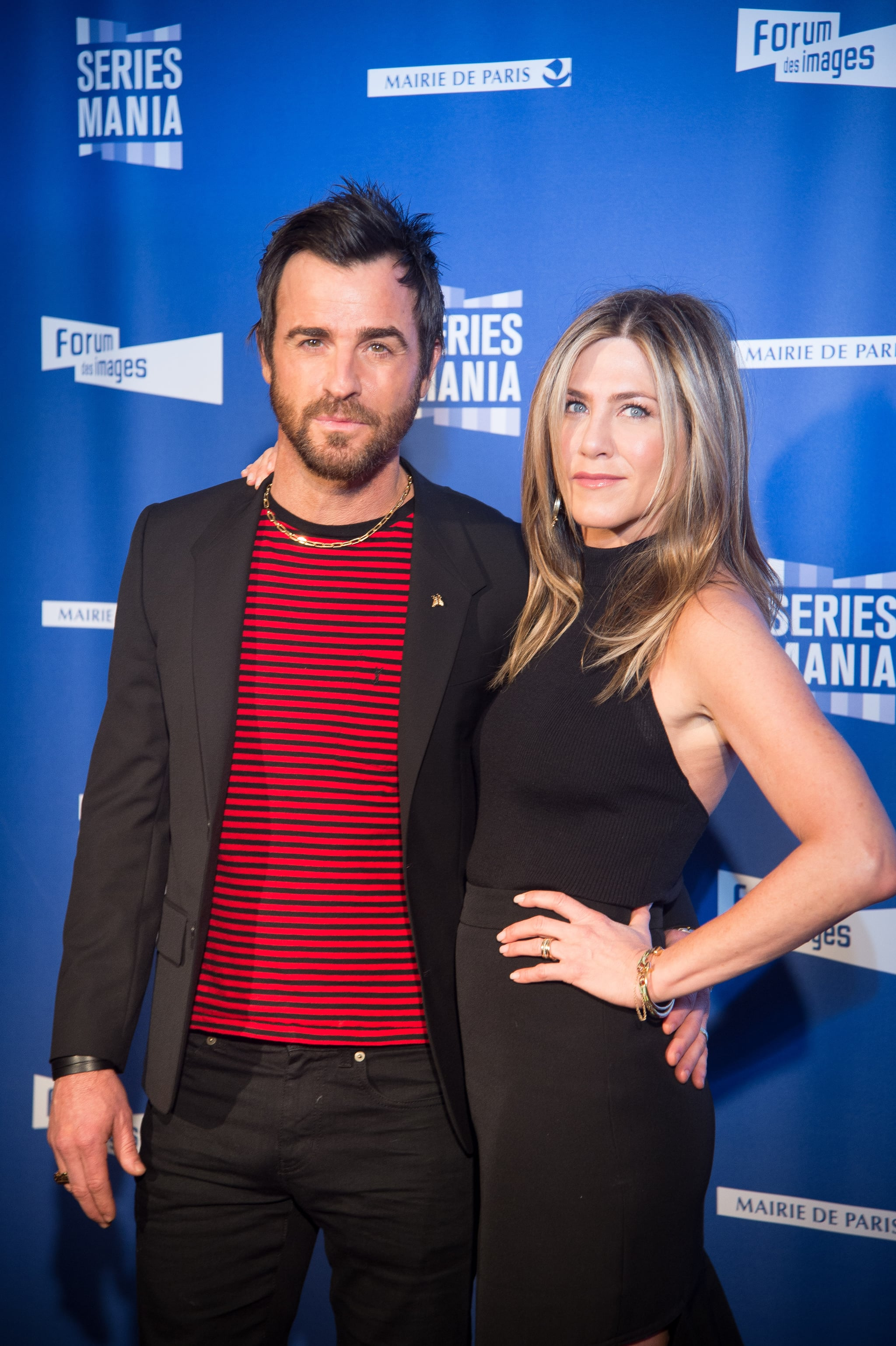 PARIS, FRANCE - APRIL 13:  Justin Theroux and Jennifer Aniston attend the Festival Serie Mania Opening Night, at Le Grand Rex on April 13, 2017 in Paris, France.  (Photo by Stephane Cardinale - Corbis/Corbis via Getty Images)
