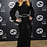 Madonna paired her shimmery Gucci dress with another pair of sparkly Miu Miu sunglasses at the Gucci Award For Women in Cinema event.
