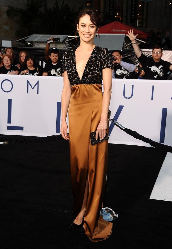 Olga Kurylenko wore Burberry at the Oblivion premiere in Hollywood.