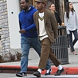 While strolling in LA, Tyler showed off his preppy side in a cable-knit sweater and tweed blazer.