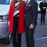 Princess Sofia of Sweden wearing a crisp red coat.