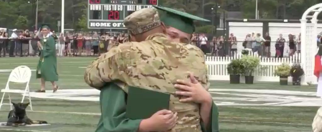 Military Dad Surprises Son at High School Graduation