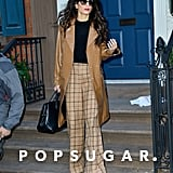 Styling a Patent Leather Trench With Windowpane-Check Trousers
