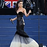 Cheryl took to the state at the queen's Diamond Jubilee concert in a dramatic ombré gown by Eva Minge.