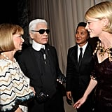 A fashionable gathering: Anna Wintour, Karl Lagerfeld, Prabal Gurung, and Carey Mulligan take it all in.