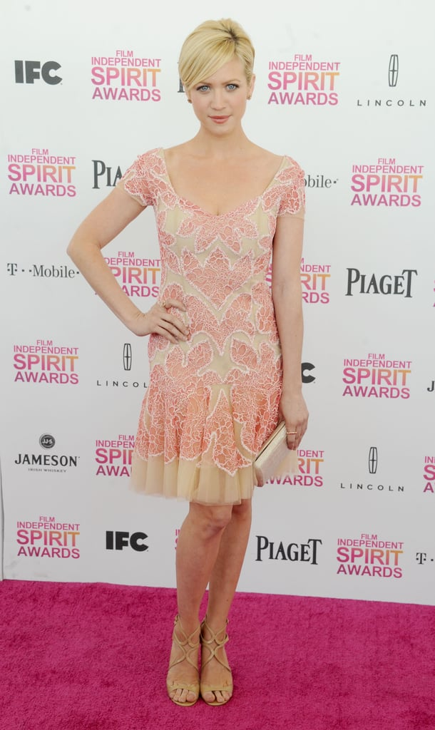 Brittany Snow's lovely pink-and-nude dress and nude Jimmy Choo sandals are subtle but still standouts.