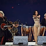 For her second with Roger Taylor and Brian May from Queen, Jessie J wore a gold-sequinned catsuit.