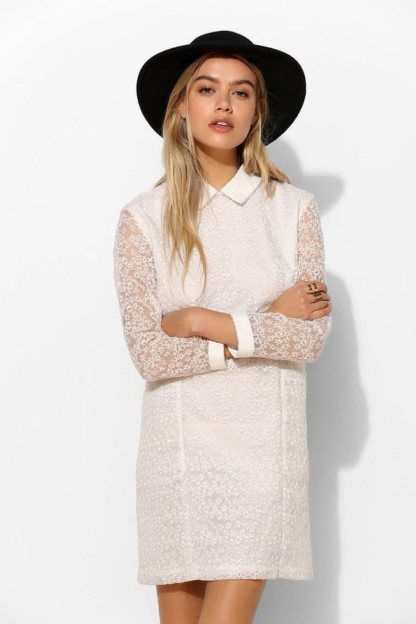 Urban Outfitters White Lace Collared Dress