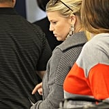 Jessica Simpson wore her hair back.