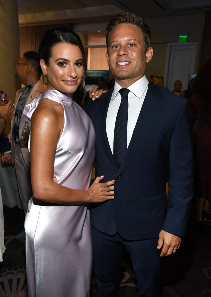 On Thursday, Lea Michele and Zandy Reich stepped out for their first public appearance as wife and husband at the GLAAD Media Awards. The newlyweds were all smiles at the ceremony as they honored media efforts to support and uplift the LGBTQ+ community. While Zandy looked snazzy in a navy suit and tie, Lea rocked a satin sleeveless dress — and her gorgeous wedding ring. At the event, they also posed with stars such as Meghan Trainor, EJ Johnson, and Gideon Adlon.  The former Glee actress married Zandy in early March before going on a romantic tropical honeymoon. Now that they're back, we're hoping to get even more adorable outings from them. See more pictures of the two lovebirds at the GLAAD Media Awards ahead!      Related:                                                                                                           Watch Lea Michele and Zandy Reich's Adorable Romance Unfold Right Before Your Eyes