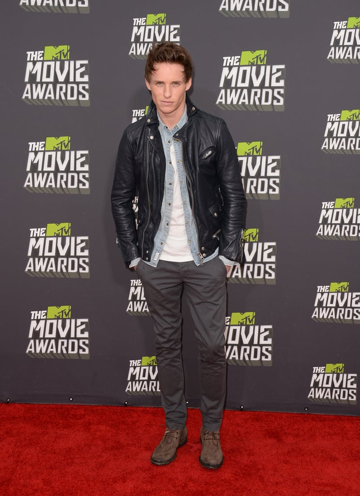 Eddie Redmayne went casual in AllSaints on the red carpet at tonight's MTV Movie Awards in LA. He's there to see if he takes home a golden popcorn in the best breakthrough performance category. He's nominated for his role in Les Misérables, up against The Perks of Being a Wallflower's Ezra Miller, Life of Pi's Suraj Sharma, Beasts of the Southern Wild's Quvenzhané Wallis, and Rebel Wilson of Pitch Perfect. Eddie's in California following a stint at home in London. There he was able to spend time with his girlfriend Hannah Bagshawe, but tonight, though, will give him a chance to mingle with his new Hollywood friends.