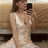 UO Paige Satin Floral Midi Dress
