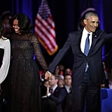 Even though Sasha couldn't make it, Malia and her mom were on hand to support Barack while he delivered his farewell speech after eight years in office in Chicago in January 2017.