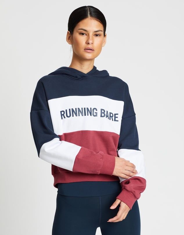 Running Bare Earn Your Stripes Crop Hoodie