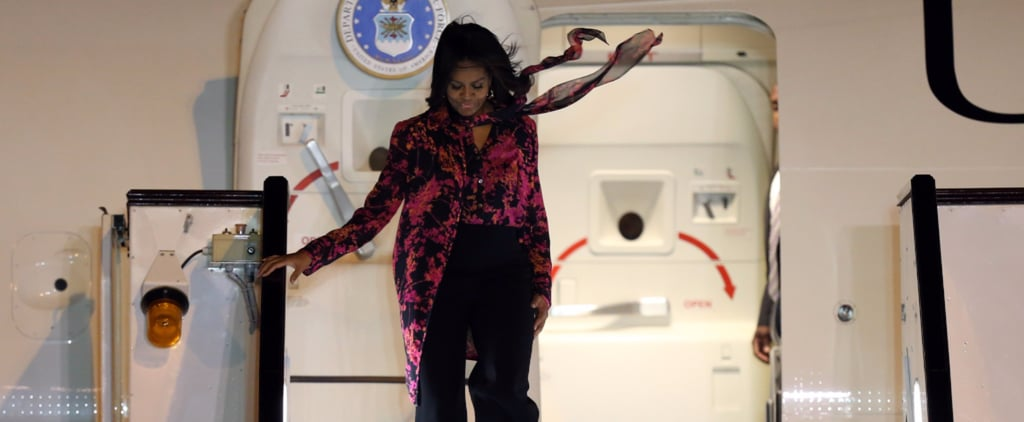 Michelle Obama Airport Style in Qatar | 2015