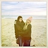 Emma Roberts and her sister Grace bundled up on the beach. Source: Instagram user emmaroberts6