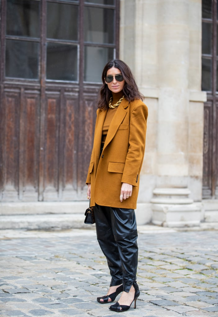 Leather Pants Outfit Idea: Baggy Leather Pants + Oversize Blazer
