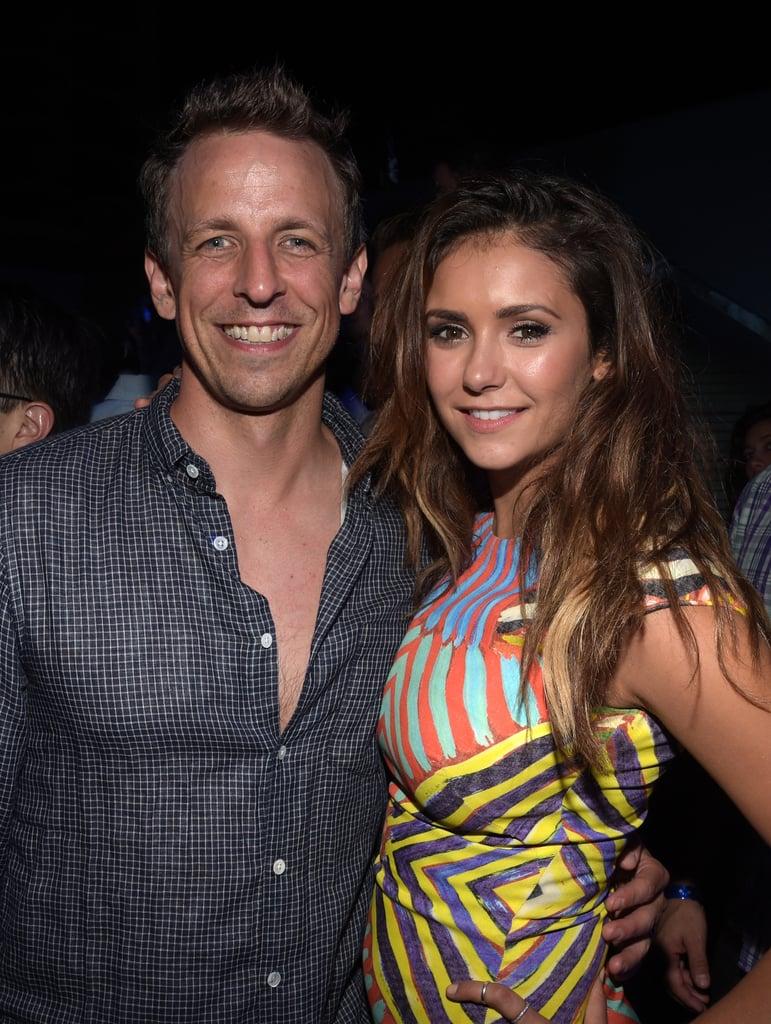 On Friday, Seth Meyers had a big smile next to Nina Dobrev at Playboy and A&E's Bates Motel event.