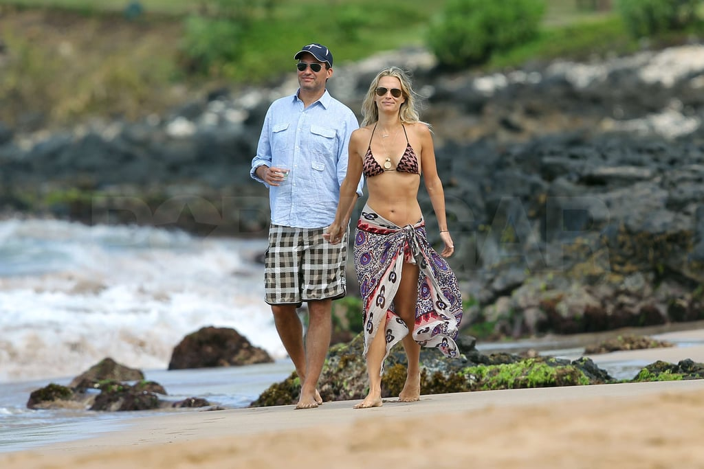Molly Sims and Scott Stuber strolled on the sand.