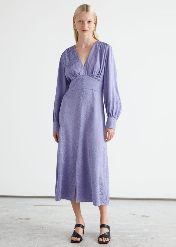 For a Splash of Lavender: Voluminous Sleeve Jacquard Midi Dress