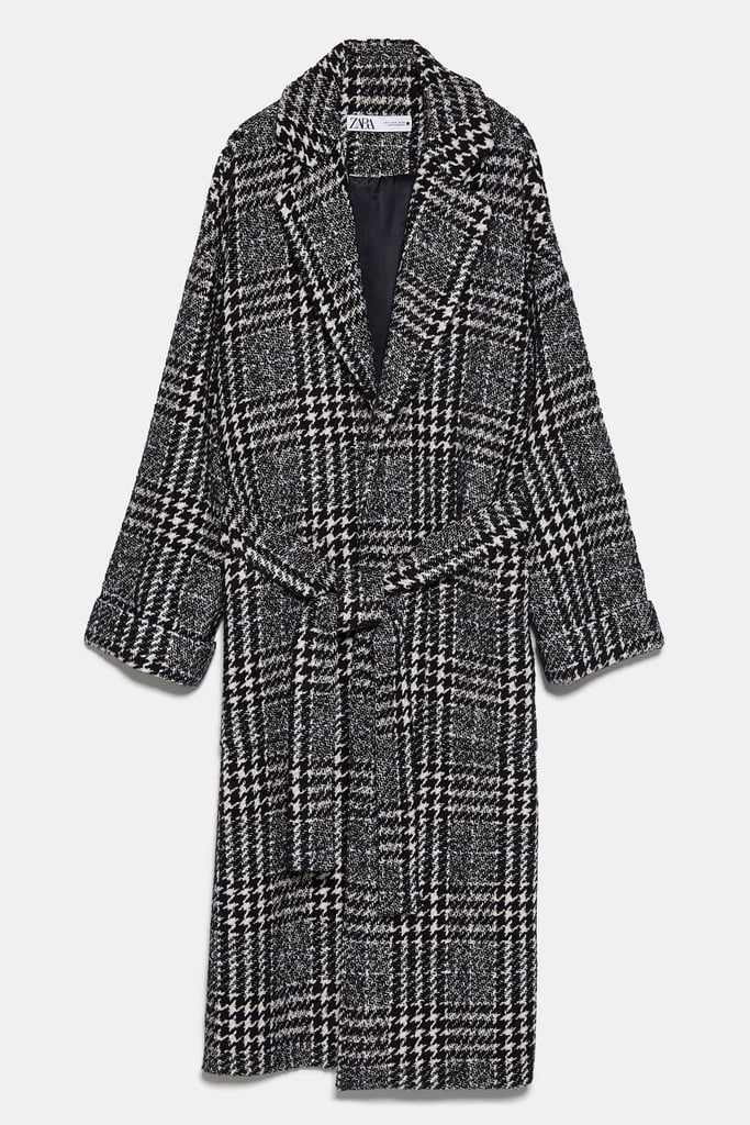 Zara Check Coat with Belt