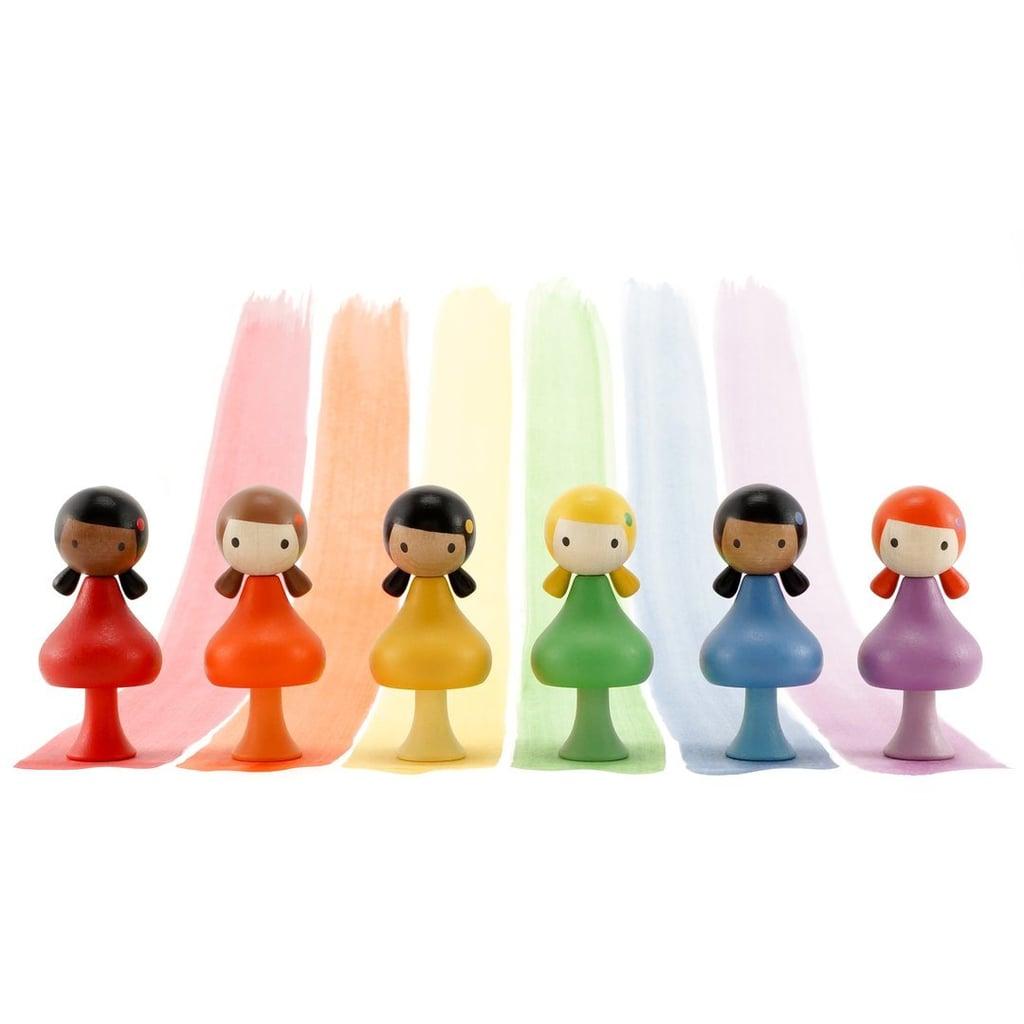 Rainbow Magnetic Clicques Peg Dolls