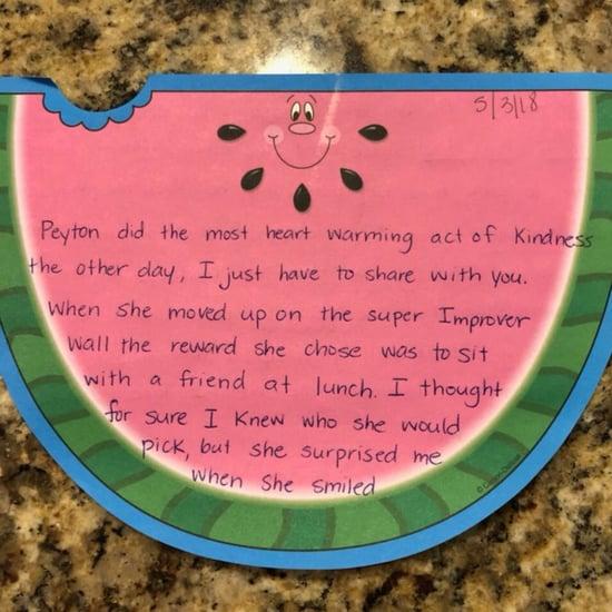 Kindergarten Teacher's Note to Parents About Kind Child