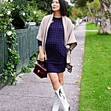 A Patterned Dress, Statement Boots, and a Sweater