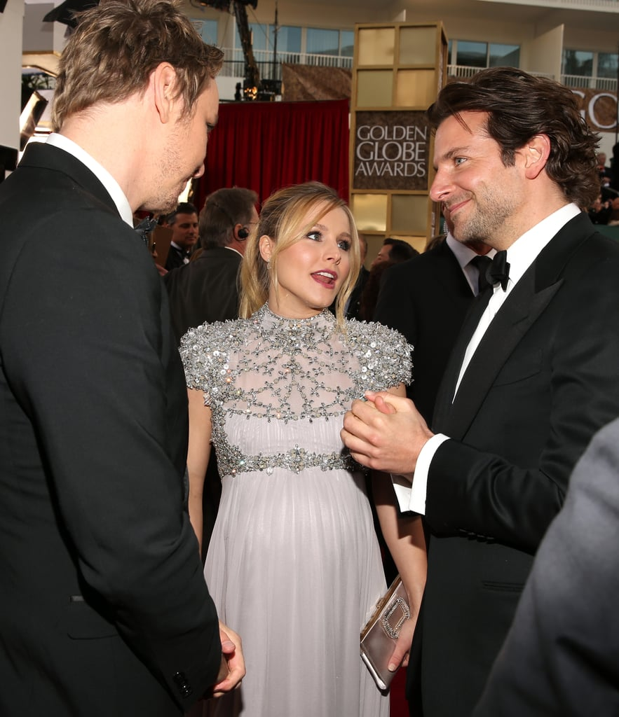 Kristen Bell chatted with Dax and Bradley Cooper at the Golden Globes.