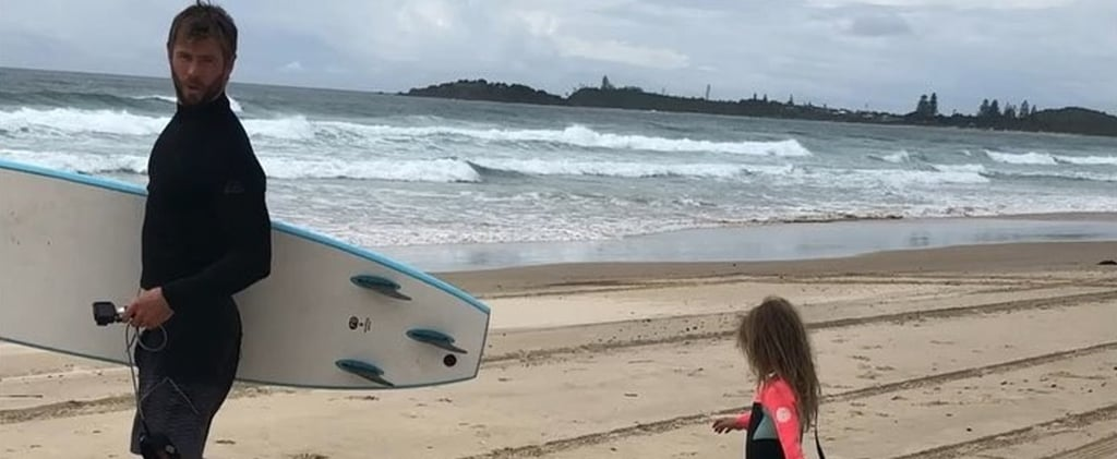 This Video of Chris Hemsworth Surfing With His Daughter Will Delight and Terrify You