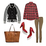 For a Fall-feeling style you can slip into every day, look to your favorite skinnies in a rich seasonal hue and a cozy plaid button-down. Dress it up with pumps for your 9-to-5, and slip into flats — like a great pair of loafers — to wander the farmers market on your weekend. Get the look:   Madewell Letterman Sweater-Jacket ($158)  J.Crew Jude Plaid Brushed Cotton-Blend Shirt ($88)  Goldsign Misfit Mid-Rise Skinny Jeans ($210)  Madewell Film Noir Pump in Suede ($198)  Zara Leather Shopper ($129)