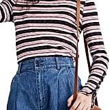 Madewell Elsie Stripe Button Sleeve Tee