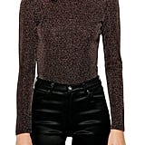Topshop Metallic Funnel Neck Top