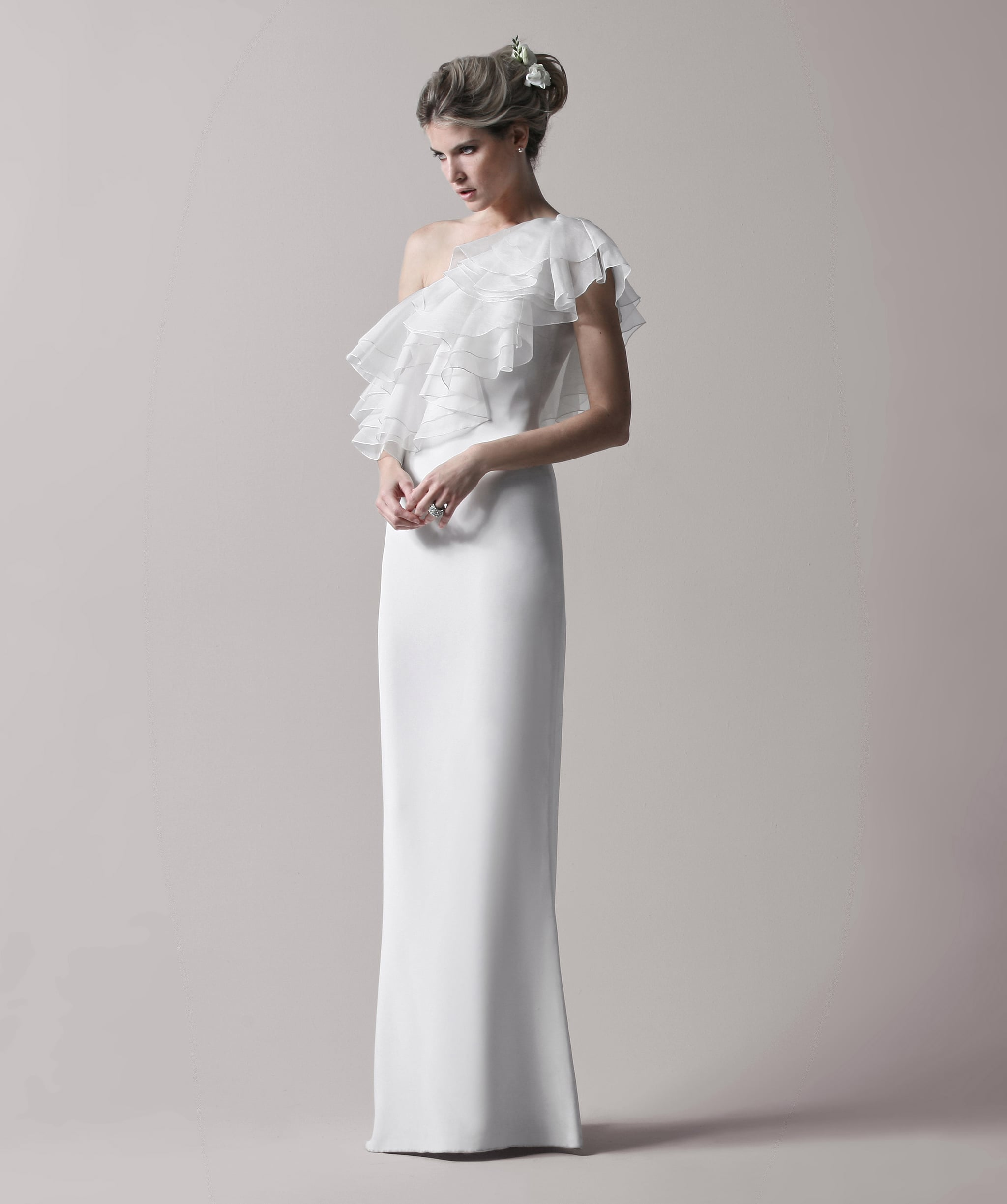 One shouldered ruffle gown, approx $793, Notte by Marchesa.