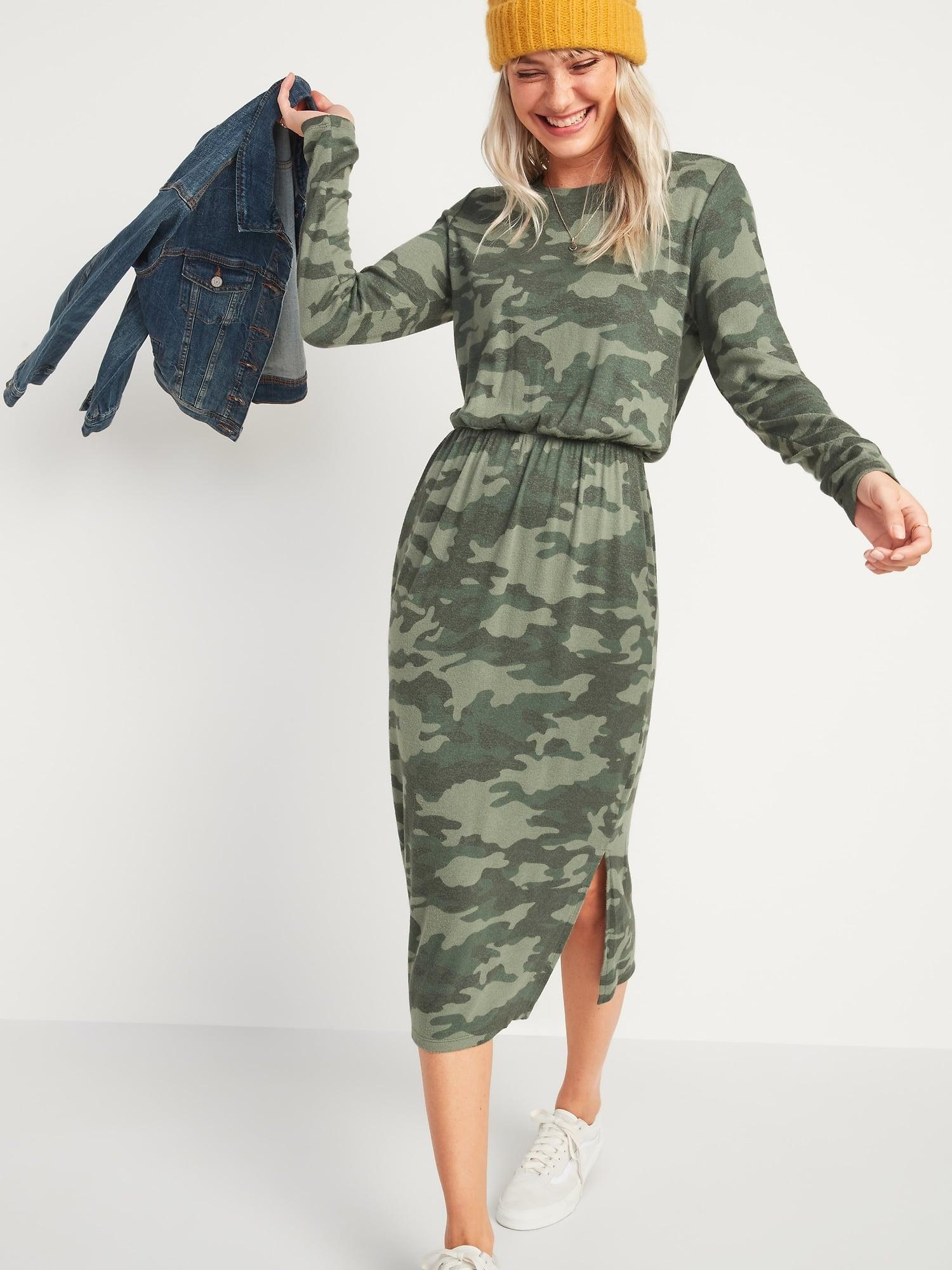 Old Navy Waist-Defined Long-Sleeve Midi T-Shirt Dress   Look at ...