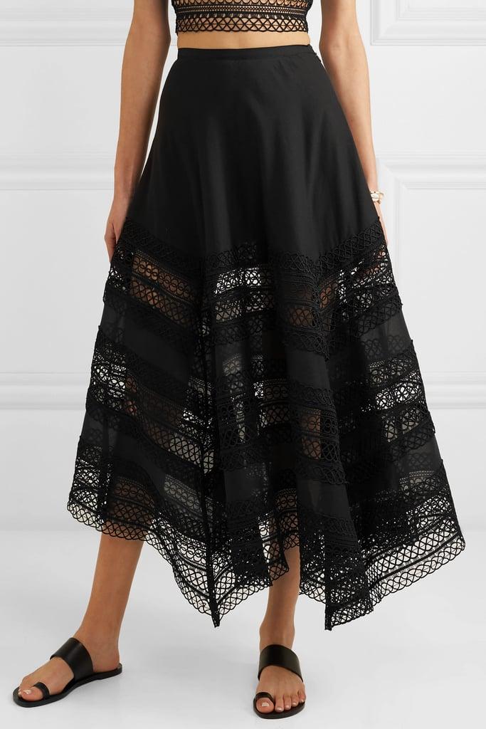 Charo Ruiz Benna Crocheted Lace-Paneled Cotton-Voile Maxi Skirt