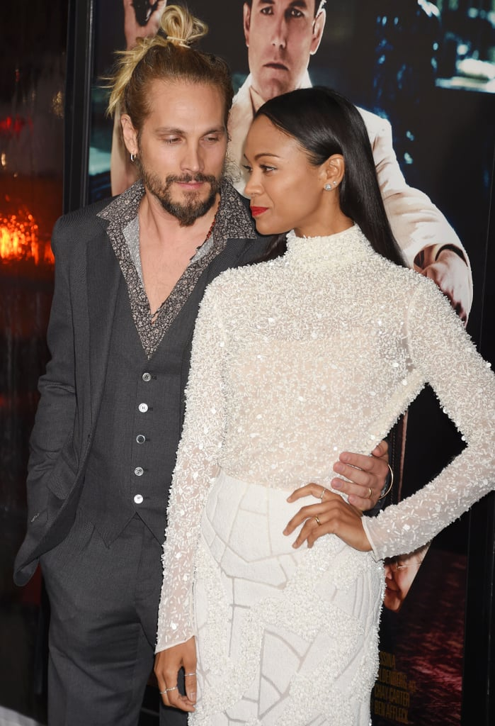 Zoe Saldana And Marco Perego At The Live By Night Premiere