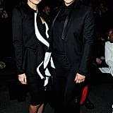 Nicole Richie and Kim Kardashian made a sleek pair in Givenchy's front row on Sunday evening.