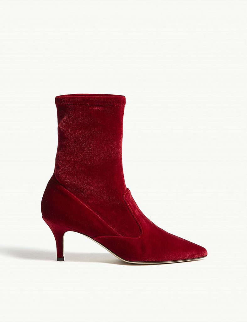 LK Bennett Lou Velvet Ankle Boots